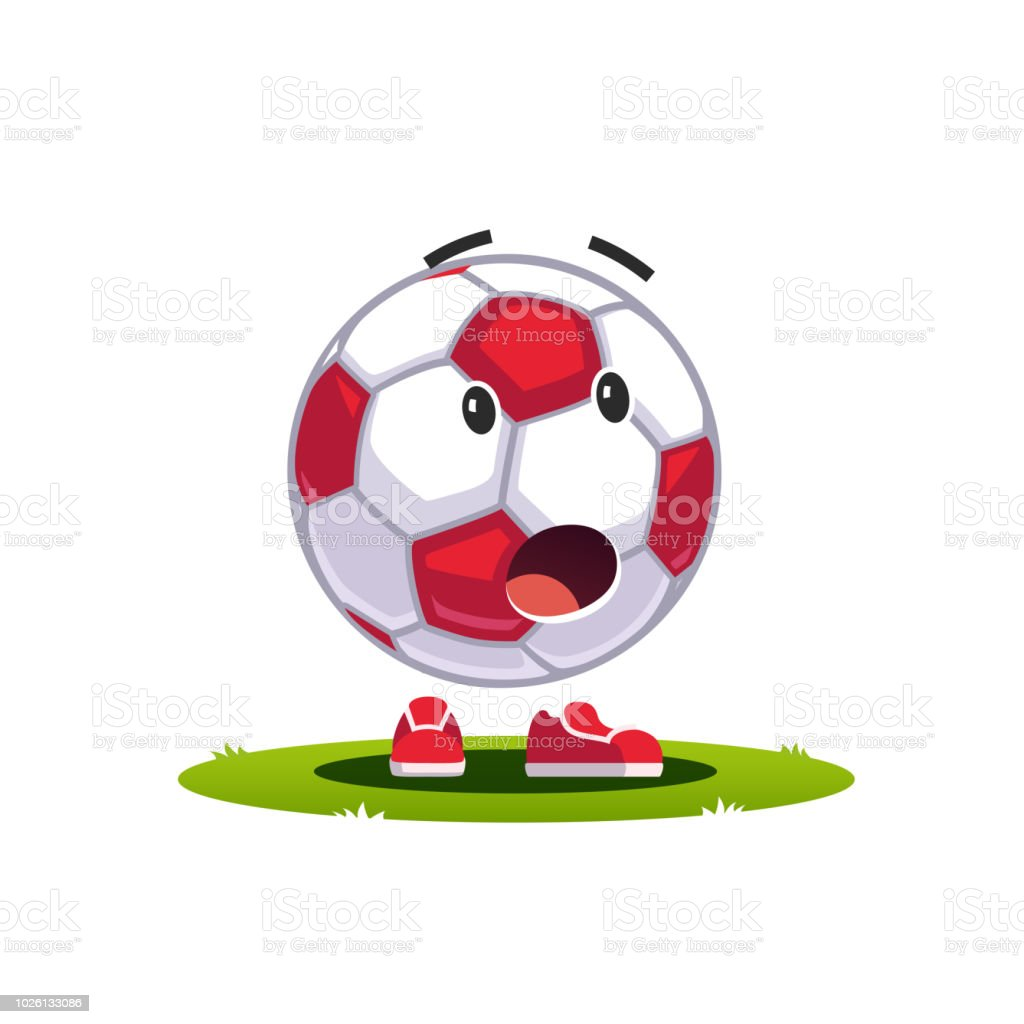 Animated Cartoon Soccer Ball Emoticon Supporter Fan Character Amazed