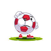 Animated cartoon soccer ball emoticon supporter fan character. Sad, confused and displeased face football scratching head concept. Flat style vector clipart