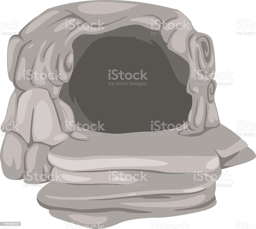 Animated cave on a white background vector art illustration