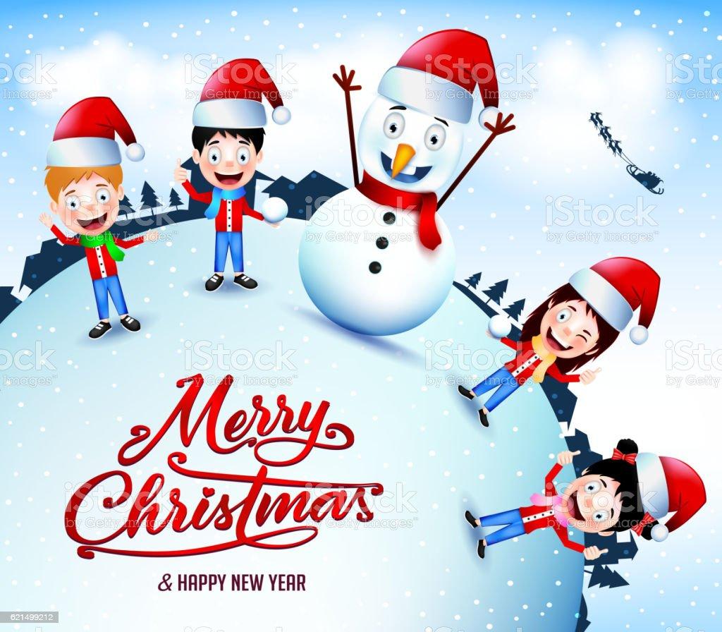 Animated Characters Playing Snow Outdoor On Christmas animated characters playing snow outdoor on christmas – cliparts vectoriels et plus d'images de adolescent libre de droits