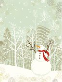 Christmas card with snowman in front of a cityscape.