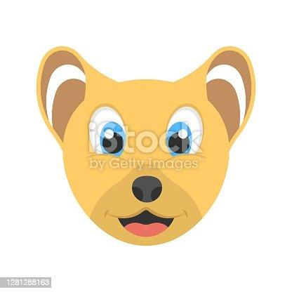 Animated cute cub icon in flat design style. Logo, mascot design element.