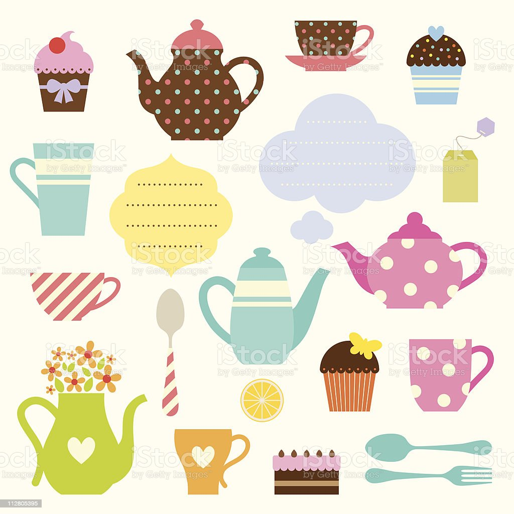 Animated cute tea party items for stickers royalty-free stock vector art