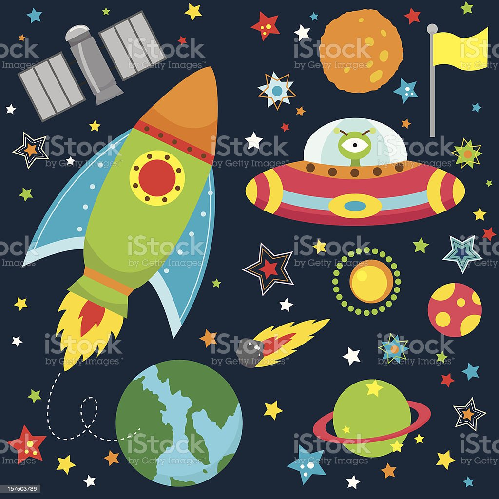 Animated Icons Of Outer Space Design Elements Stock