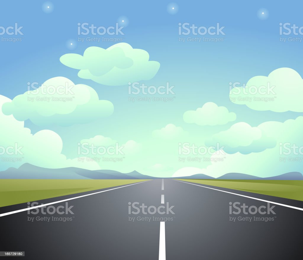 Animated image of a highway that ends in eternity vector art illustration