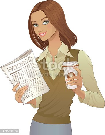 Businesswoman holding a morning newspaper and a cup of coffee