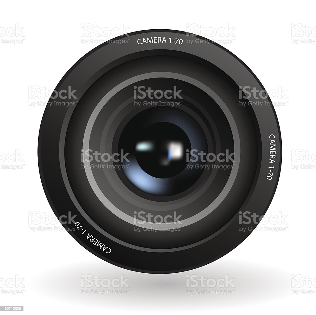 Animated image of photograph device lens vector art illustration