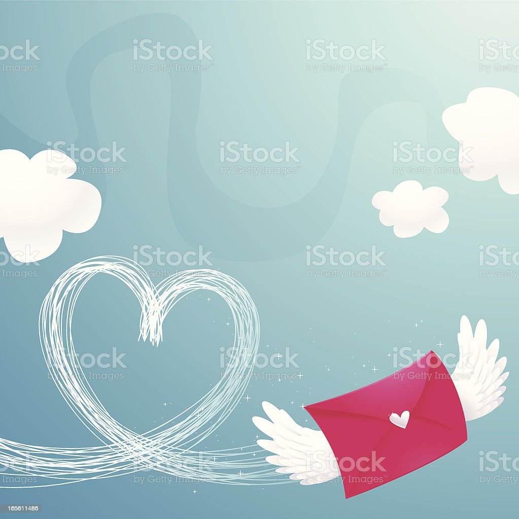 Animated letter with wings that flew in a heart pattern Vector illustration of a love letter, air delivery. Air Mail stock vector