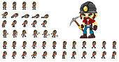 Animated miner character for creating adventure video games