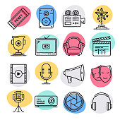 Modern animated movie making doodle style concept outline symbols. Line vector icon sets for infographics and web designs.