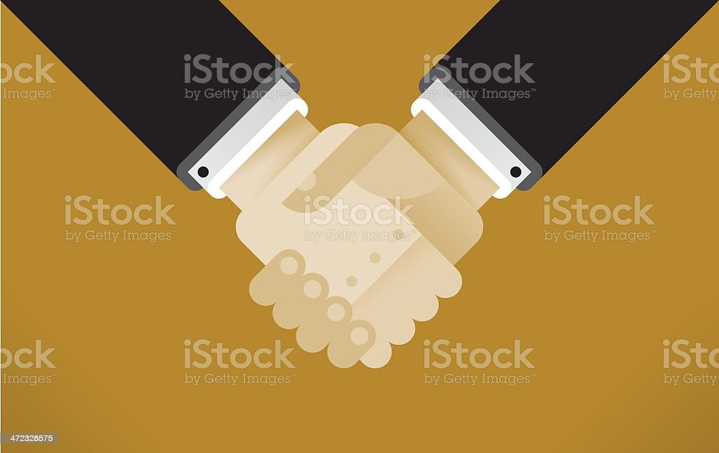 Animated picture of a handshake on a plain background vector art illustration