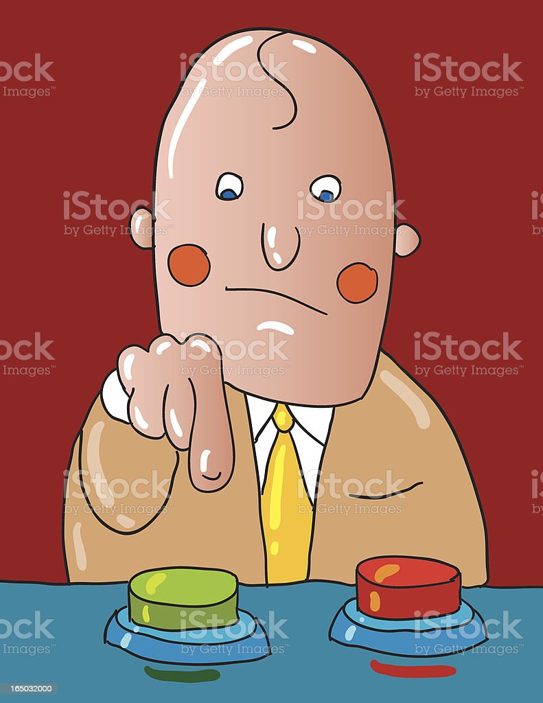 A animated picture of a man deciding what button to push  royalty-free stock vector art