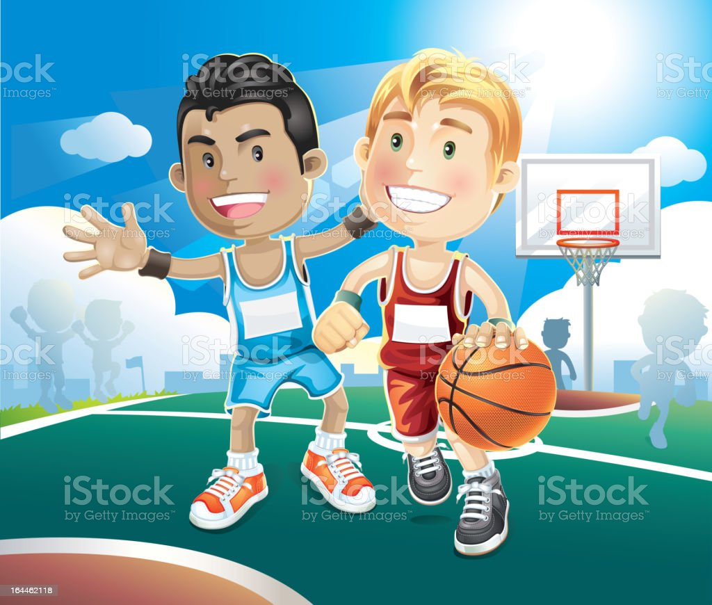 Animated picture of kids playing basketball vector art illustration