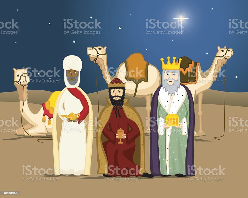 Animated picture of wise men in front of camels desert night royalty-free stock vector art