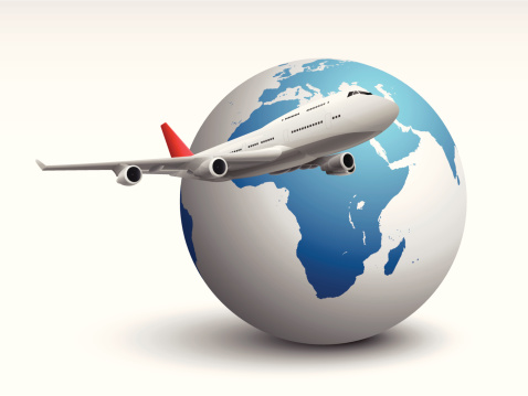 an editable vector illustration with a plane and earth globe.