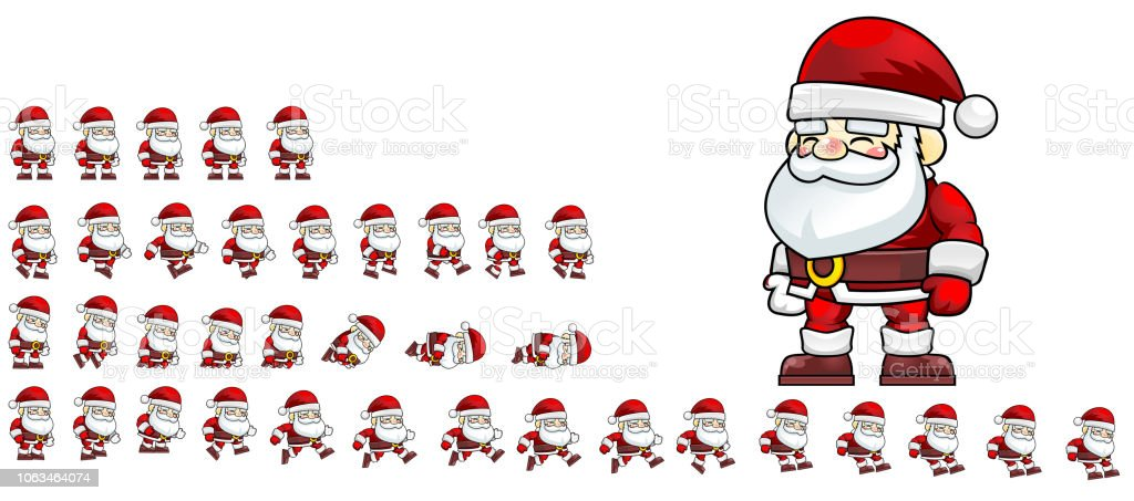 Animated Santa Claus Game Sprite Stock Vector Art More Images Of