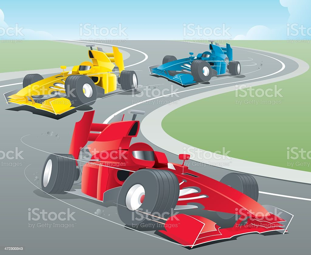 Animated sports cars racing around a bend vector art illustration