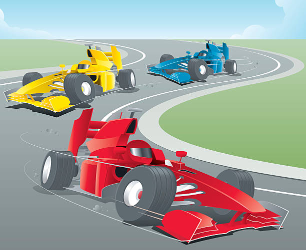 Animated sports cars racing around a bend Formula One Racing auto racing stock illustrations