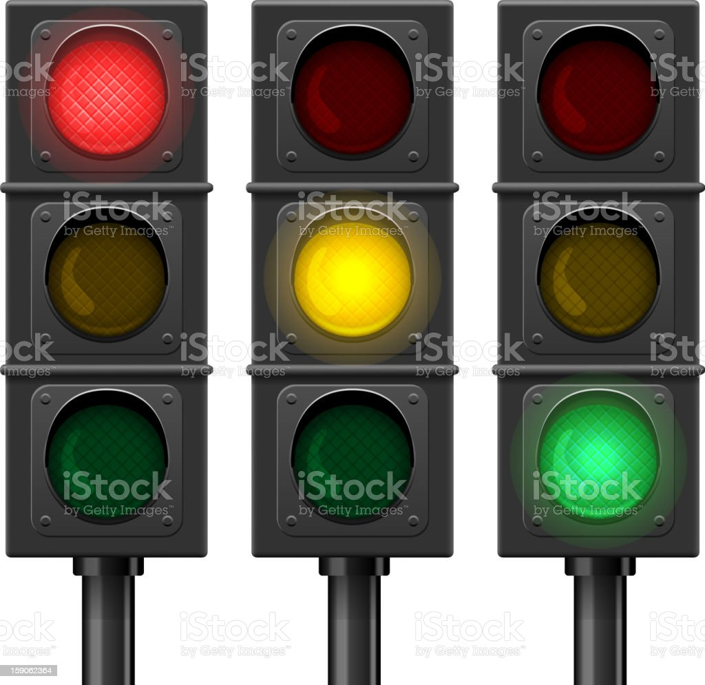 Animated traffic lights showing red, yellow, green lights royalty-free stock vector art