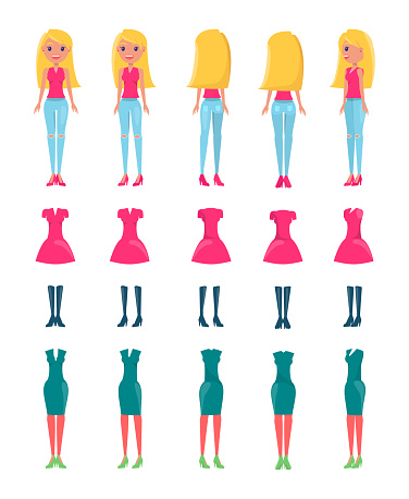 Animated Vector Cartoon Character Blonde Girl Set