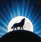 Animated wolf howling with the moon behind him and stars