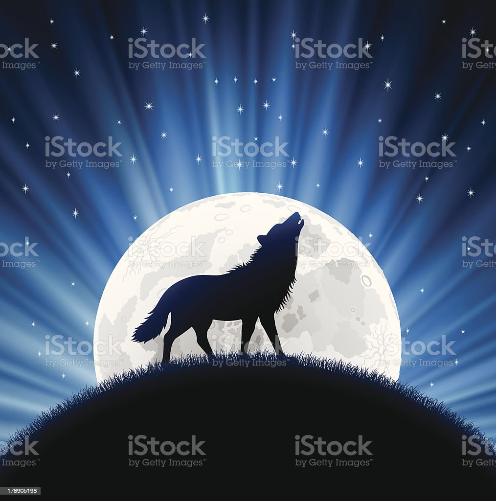 Animated wolf howling with the moon behind him and stars vector art illustration