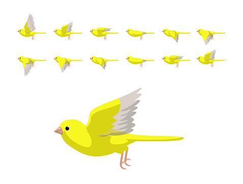 Animation Canary Yellow Flying Cute Cartoon Vector Illustration