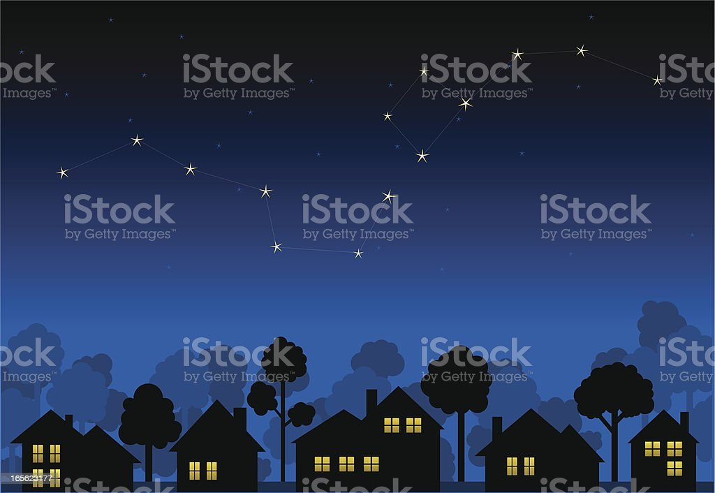 Animation of a constellation above house silhouettes vector art illustration