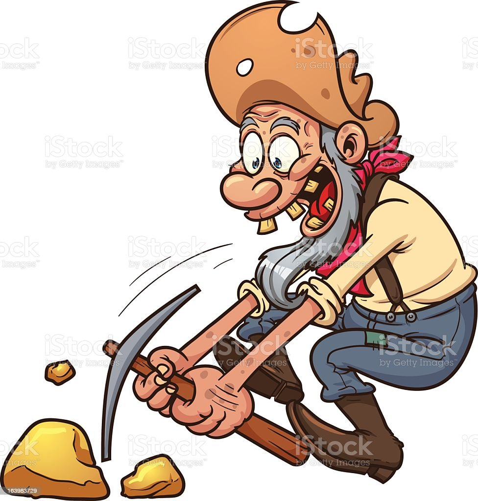 Animation of a gold miner excited while using pickaxe vector art illustration