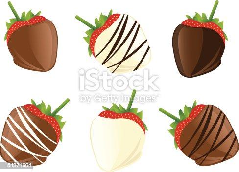 초콜릿 입힌 딸기 0명에 대한 스톡 벡터 아트 및 기타 이미지 154371664 | iStock