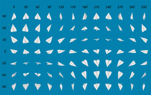 Animation of the rotation of a paper airplane. Big set of paper planes. paper airplane stock illustrations