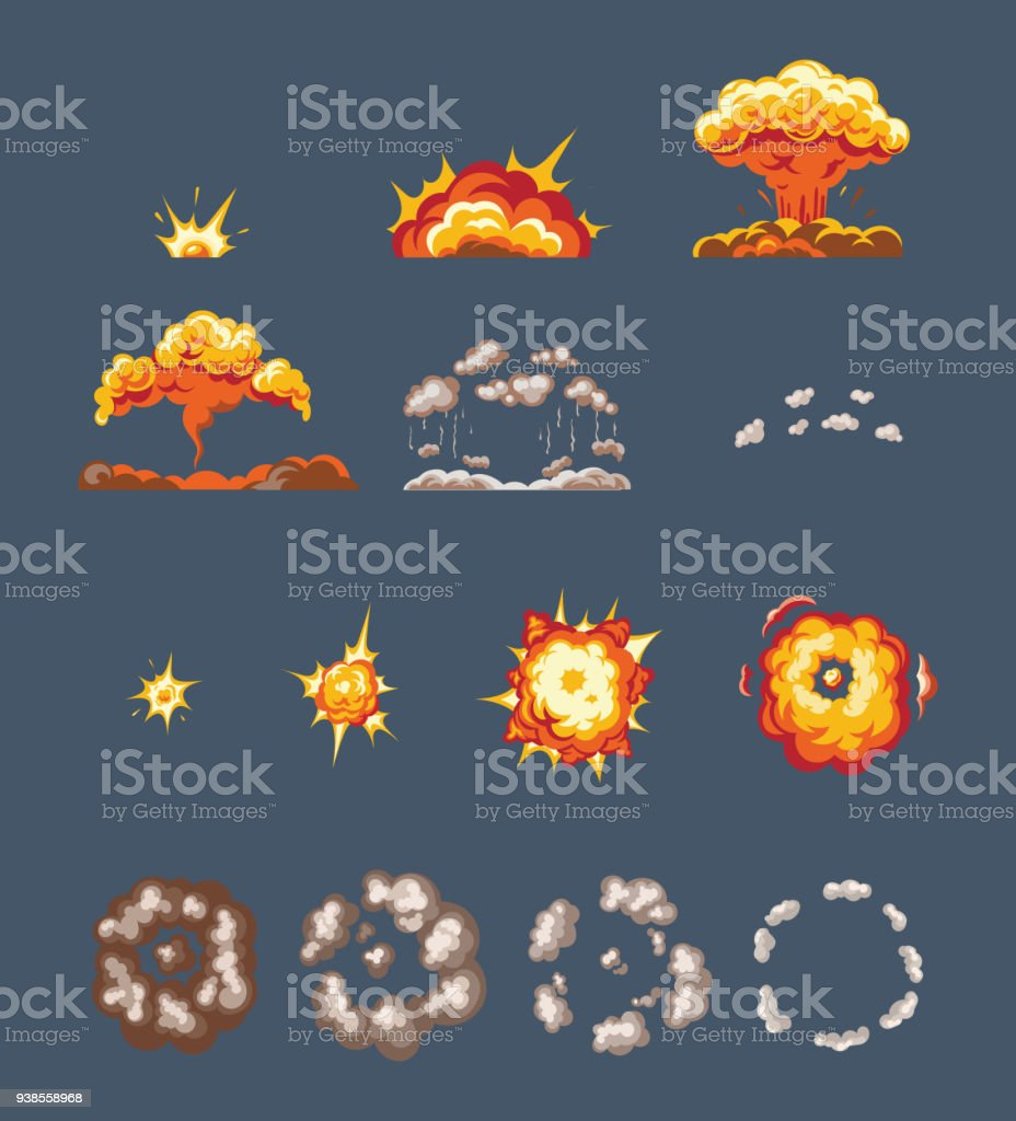 Animation Scenes Effect Smoke Explosion Fire Clouds Broken Into