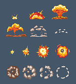 Set of objects, animation scenes, for game, effect smoke, explosion, fire clouds, frame-by-frame animation. Effect of explosion with smoke, cloud with flame, flying particles. Illustration isolated.