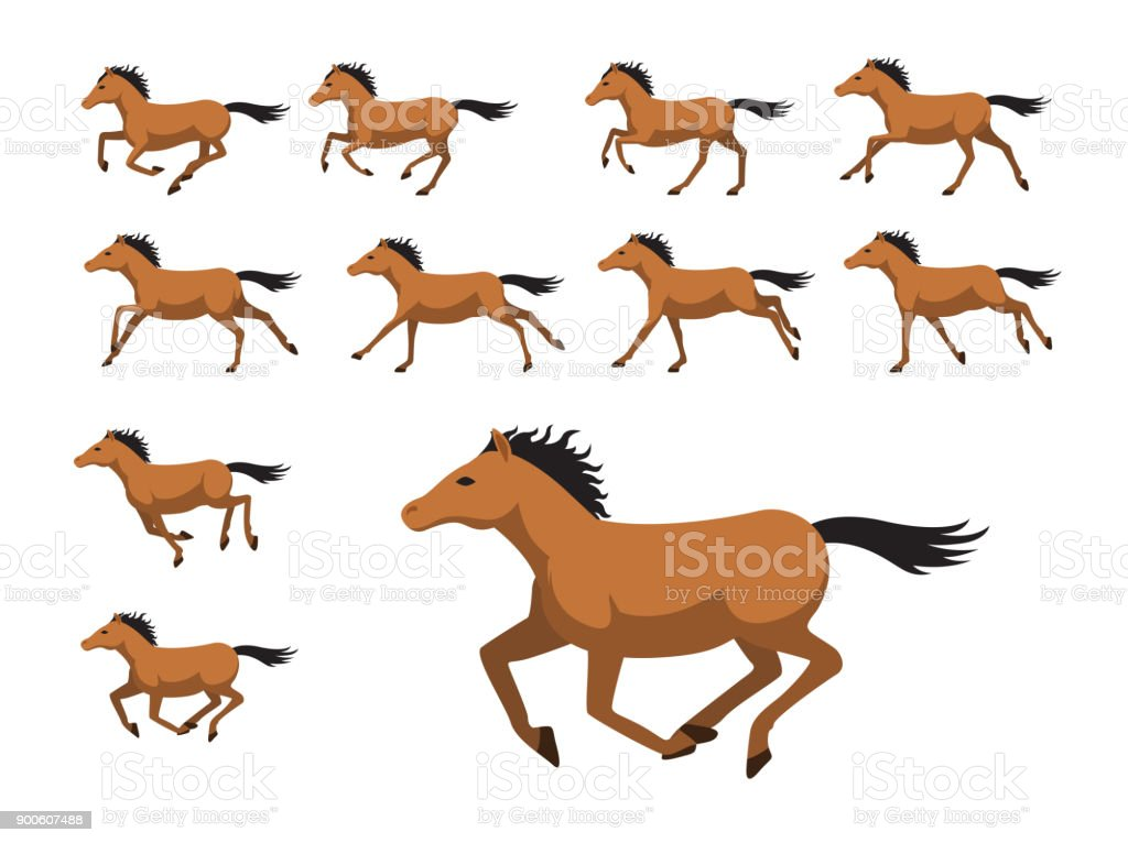 Animation Sequence Horse Running Cartoon Vector Illustration Stock Illustration Download Image Now Istock