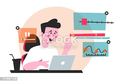 istock Animator designer in creative process vector illustration. Man sitting at workplace and working at new art project. Modeling artist job, motion graphic creator profession flat style concept 1316651458