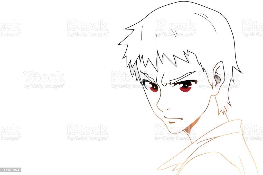 Anime Les Yeux Anime Visage Avec Des Yeux Rouges Sur Fond