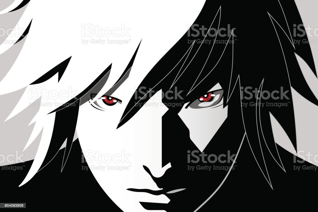 Anime Eyes Red On Black And White Background Face From Cartoon