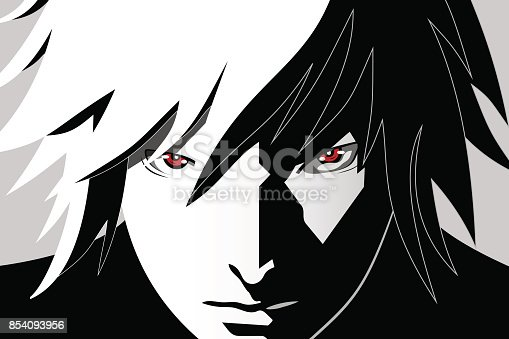 istock Anime eyes. Red eyes on black and white background. Anime face from cartoon. Vector illustration 854093956