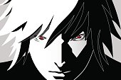 Anime eyes. Red eyes on black and white background. Anime face from cartoon. Vector illustration