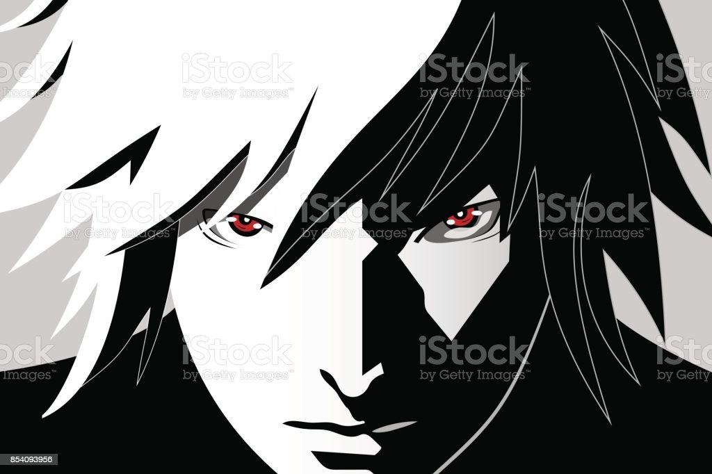 Olhos de anime. Olhos vermelhos em fundo preto e branco. Rosto de anime do desenho animado. Ilustração vetorial - ilustração de arte em vetor