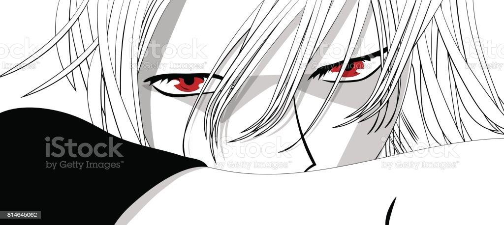 Anime Les Yeux Yeux Rouges Sur Fond Blanc Visage Danime De