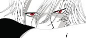 Anime eyes. Red eyes on white background. Anime face from cartoon. Vector illustration