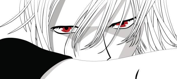 アニメの目。白い背景に赤い目。漫画からアニメ顔。ベクトル図 - 漫画の子供たち点のイラスト素材/クリップアート素材/マンガ素材/アイコン素材