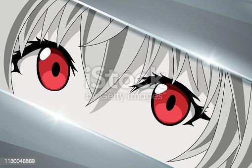 istock Anime face character from cartoon. Manga hero in japanese style 1130046869