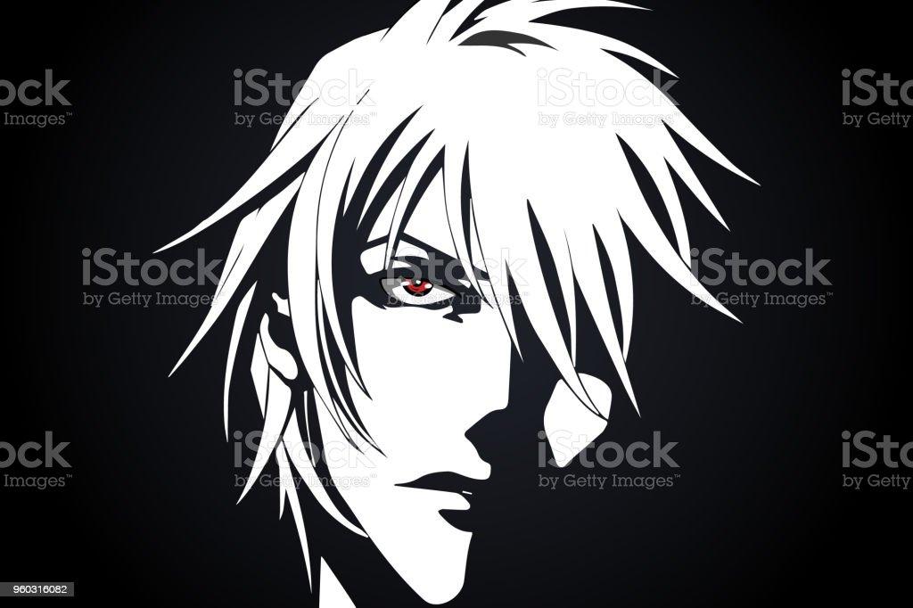 Anime çizgi Film Anime Kırmızı Gözlü Siyah Ve Beyaz Arka Plan