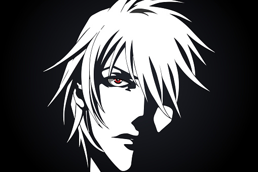 Anime face from cartoon with anime red eyes on black and white background. Vector illustration