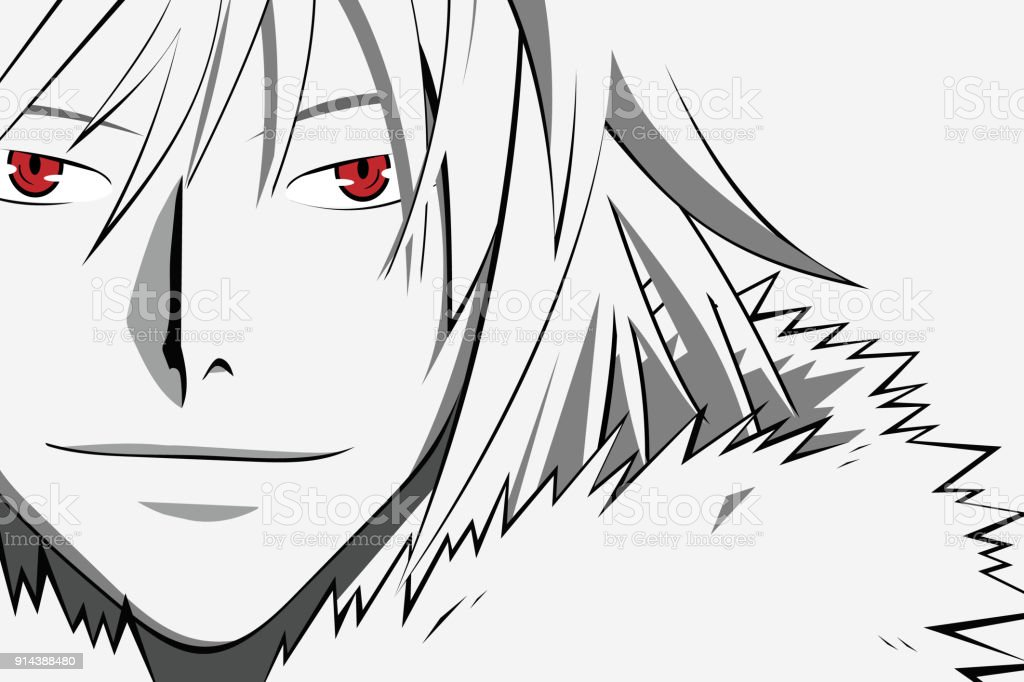 Anime face with red eyes from cartoon web banner for anime manga on white