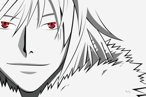 anime face with red eyes from cartoon. web banner for anime, manga on white background. vector illustration - anime girl stock illustrations