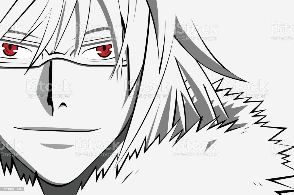 Ilustración de Cara De Anime Con Ojos Rojos En Los Vidrios De La ...
