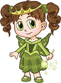 """Vector clip art illustration of a brown haired girl wearing a fairy princess costume, drawn in an anime or manga style. She is in a """"paper doll"""" pose, and has a wand which is removable if desired."""